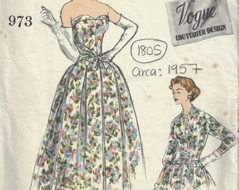 1957 Vintage VOGUE Sewing Pattern B32 Dress & Jacket (1805) BY John Cavanagh Vogue 973