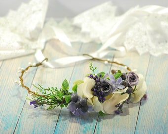 White Purple flower crown Wedding flower crown Bridal flower crown Bohemian flower crown Bridal hair wreath Wedding halo Flower headband