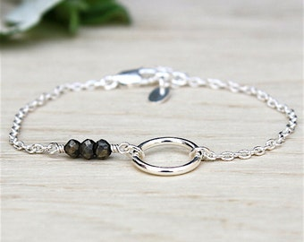 ring and pyrite on channel gems stones bracelet 925 Silver: bracelet by foryoujewels