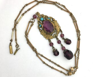 Antique Austro-Hungarian Paste Amethyst and Turquoise Pendant on Gold Plated Fancy Chain