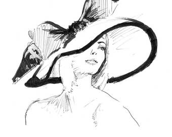 Vintage Fashion Illustration Drawing