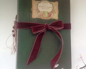 Green and vintage rose red wedding guest book - photo album - journal - woodland / fairytale themed wedding - custom wedding