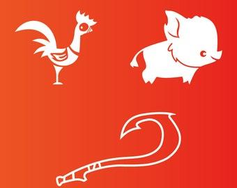 Disney's Moana Maui Pua Hei Hei Decal Sticker (3 Options!)