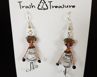 Paper Bead People Earrings, Paper Bead Earrings, Recycled, Upcycled, Eco-friendly, Trash to Treasure, One of a Kind Gift