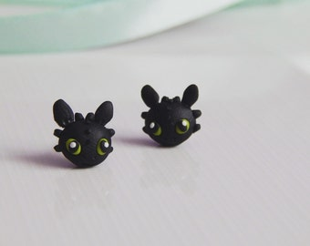 Fimo earrings Toothless How to train your dragon