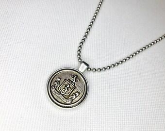 Silver Vintage Button Pendant Necklace