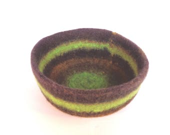 Chocolate Lime Felted Bowl