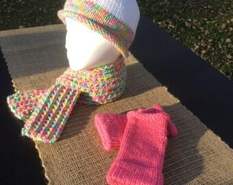Girls' Hat and Fingerless Gloves Set
