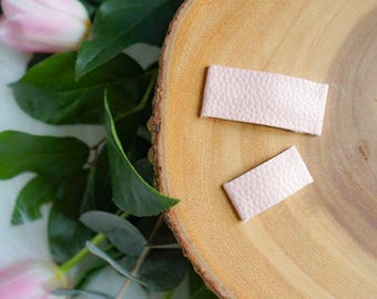 Textured faux leather snap clips