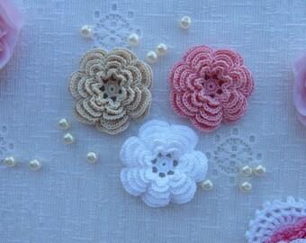 crochet flowers/flowers for scrapbooking/flowers for sewing/flowers for headband