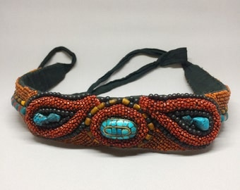 Vintage 1970's Beaded Waist Belt | Sterling Silver and Tourquise Details | Handmade