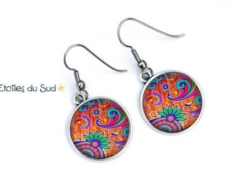 Earrings colorful earrings, mosaic, hypoallergenic, ref.42 hooks