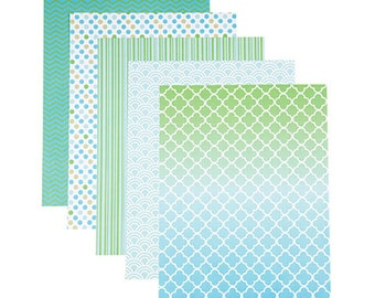 Patterned 8.5x11 Cardstock Paper Pack, Minty Fresh Prints, 25 Sheets