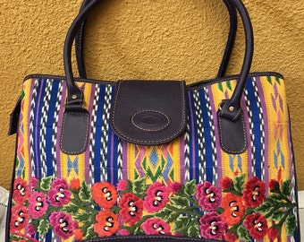 Sale!!!Black leather handbag with beautiful huipil from Quezaltenango