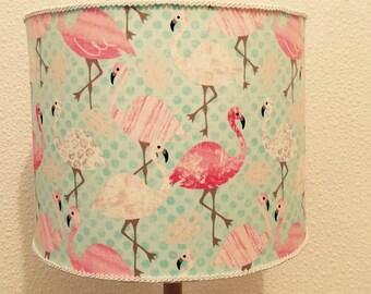 Flamingos, flamingo lampshade, flamingo shade, bllue, pink, funky, bird lampshade