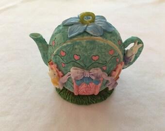 Resin Bunny Teapot House