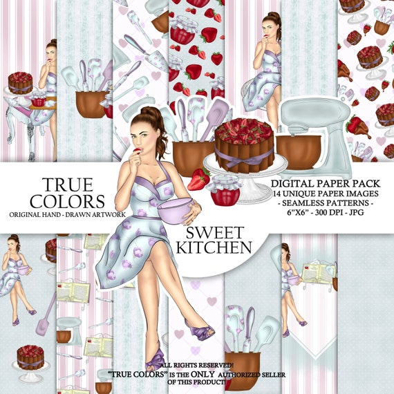 Sweet Kitchen Digital Paper Bakery Girl Pastry Cook Woman Fashion Illustration Planner Stickers Supplies Seamless Watercolor Blue Background
