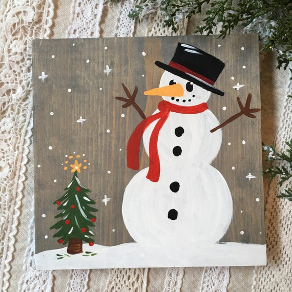 Hand Painted Christmas Snowman Art - Snowman Sign - Wood Snowman Decor