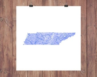 Tennessee Map - High Res Map of Tennessee Rivers / Tennessee Print / Tennessee Art / Tennessee Gift / Tennessee Wall Art / Tennessee Decor