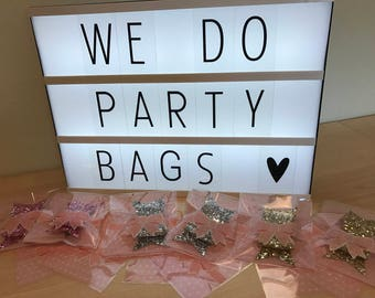Childrens party bags - Handmade glitter hairbows - girls party bags