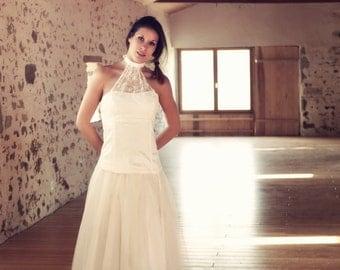 Bride wedding dress, Lace and silk wedding dress, dress, lace, silk, off-white,