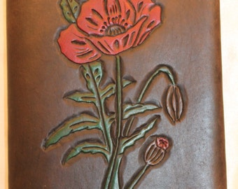 A6 Handmade, Hand Carved, Hand Painted, Refillable Leather Poppy Diary/Notebook/Journal Cover