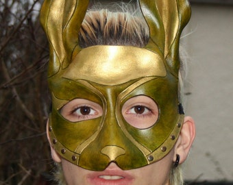 Handmade Leather Green and Gold Rabbit Mask