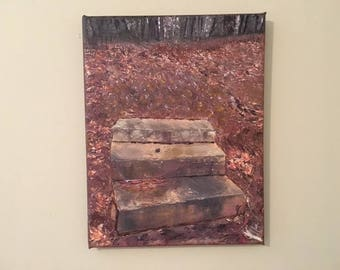 """Inviting Steps - Photo-on-canvas, printed/stretched/wrapped w/acrylic embellishments, 11""""x14"""", 5/8"""" bars. Photo location: Marietta, GA."""