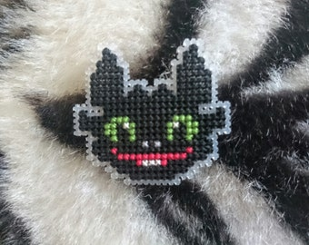 Cross Stitch Toothless Dragon Badge