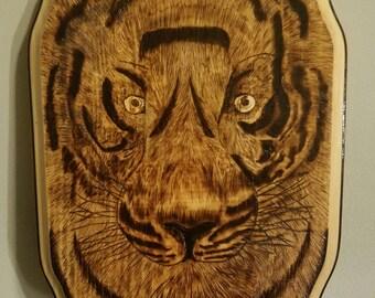 Tiger wood burned plaque