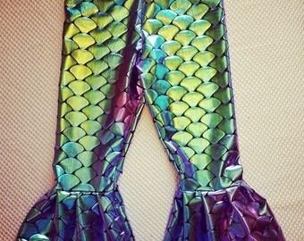 Mermaid ruffle leggings for infant and toddler