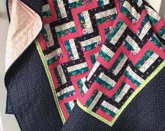 Twin Size Quilt / Twin Quilt / Navy & Pink Quilt
