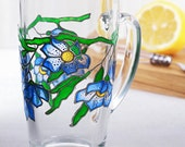 Blue Flowers Mug, Blossom Mug, Coffee Mug, Tea Mug, Hand Painted Glass Mug, Gift for Her, Gift for Him, Gift for Mom