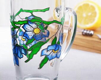 Blue Flowers Mug, Blossom Mug, Coffee Mug, Tea Mug, Hand Painted Glass Mug, Gift for Her, Gift for Him, Gift for Mom