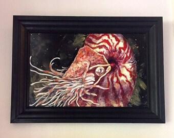 Deep Sea Nautilus original acrylic painting