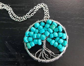 Tree of Life necklace with Teal beads