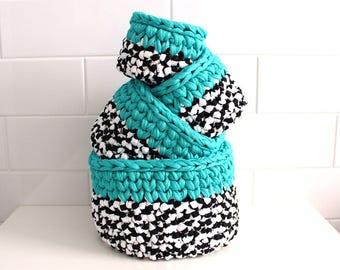 Round Nestling Crochet Baskets
