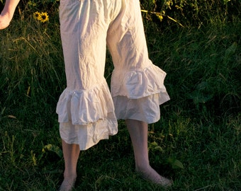 Haystack Bloomers - Cream 100% Cotton Muslin - Prairie Ruffled Flounced Pants - Adult / Women's Custom-Made - Moth & Rust Handmade in Kansas