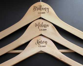 Customized Bridesmaid Dress Hanger, Personalized Bride Groom Wedding Hanger, Custom Wooden Wedding Dress Suit Hangers, Wood Bride Gift