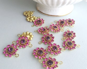 Pink Swarovski Crystal Flowers | Rose and Amethyst | Crystal Finding | Pink Crystal Flower Charm | Brass Crystal Finding | 4 Pieces
