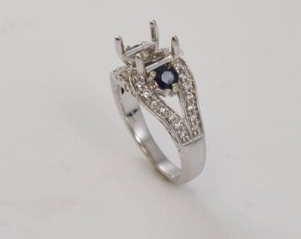 14k White Gold Diamond & Sapphire Setting Ring Size 6.5(01097)