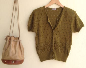 Olive Vintage Cardigan - 1980s Knitted Cardigan