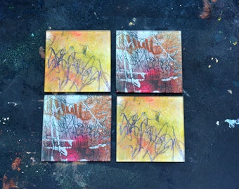 Glass Coasters, Set of 4- Urban Summer