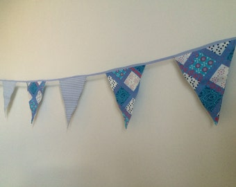 Line with lilac and blue flags and beautiful diamond pattern