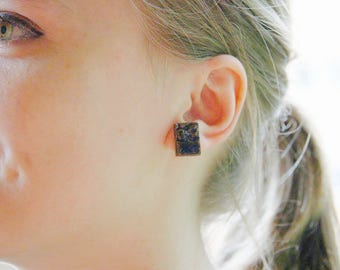 Handmade Ceramic square earring - Blue