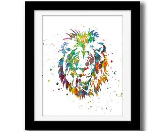 SALE - Rainbow Watercolor Digital Print - Lion Wall Art Download - Lion Wall Decor - Safari Animal Watercolor Paint Splatter - Lion Print