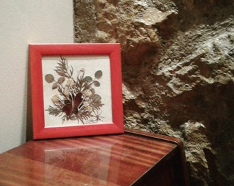 SALES !! Dried Flower Arrangment, Pressed Flowers, Vintage Decor, Handmade, Frame, Art Deco, Indie, Wall Decoration,Boho Decor, Art