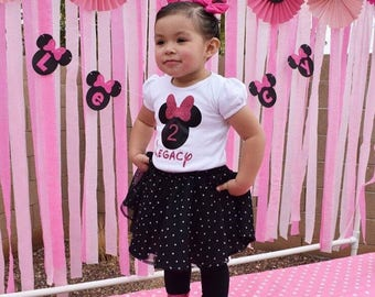Minnie Mouse Birthday Shirt, disney birthday, two years old, 2nd birthday outift