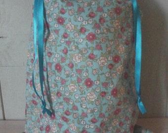 pouch bag clothesline cotton blue flowered liberty style 38 cm x 28 cm