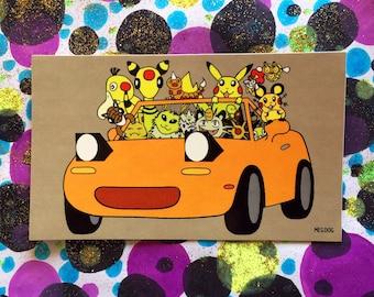 Yellow Poke'Miata Stickers